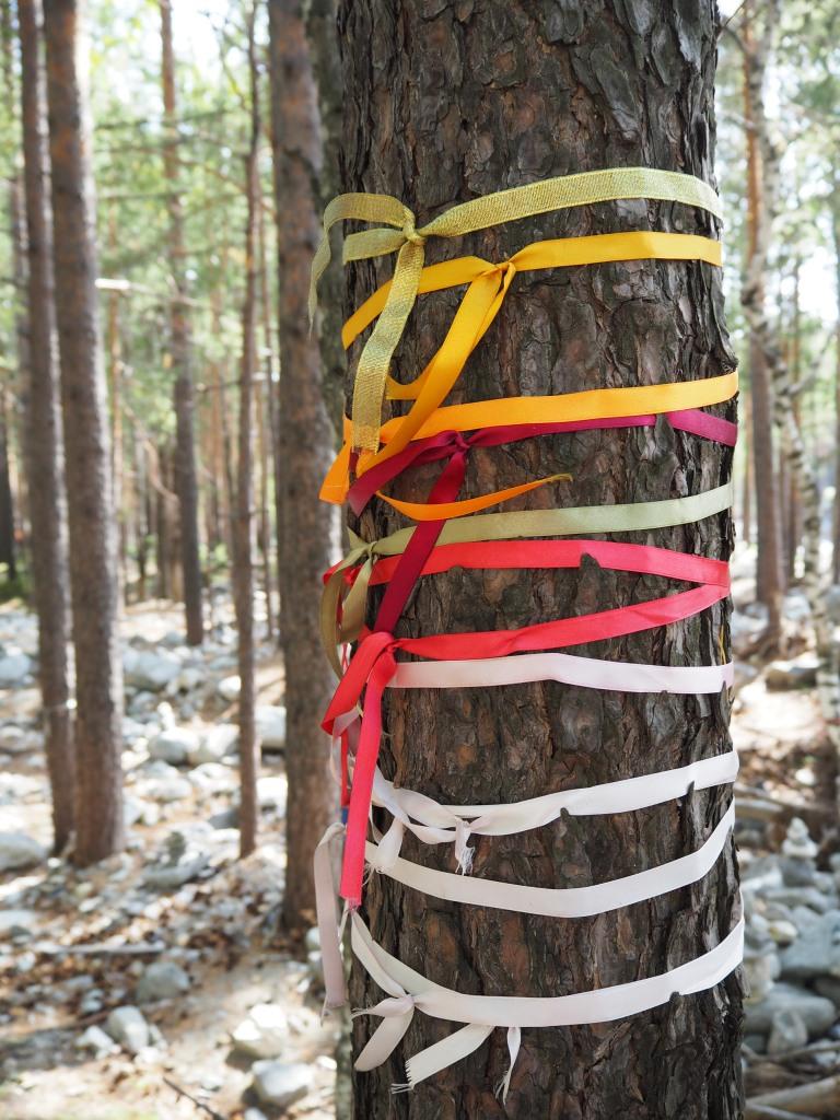 Noch ein Foto, das ich selbst gemacht hab. Ein bisschen wie diese heiligen Pflöcke auf Olchon. Nur, dass sie hier einfach die Bäume im Wald hernehmen.