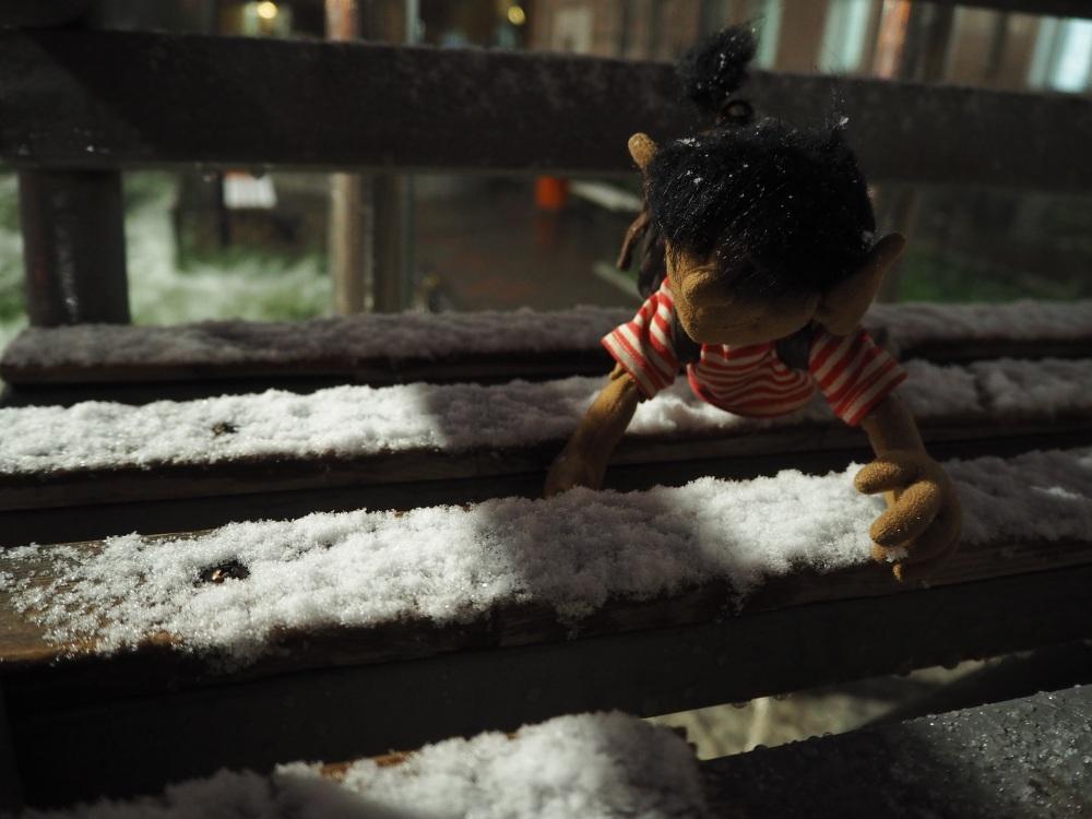 Am nächsten Tag gabs auch gleich die nächste Überraschung: Schnee zur Abfahrt! Da bin ich noch gerner in den Zug gestiegen.