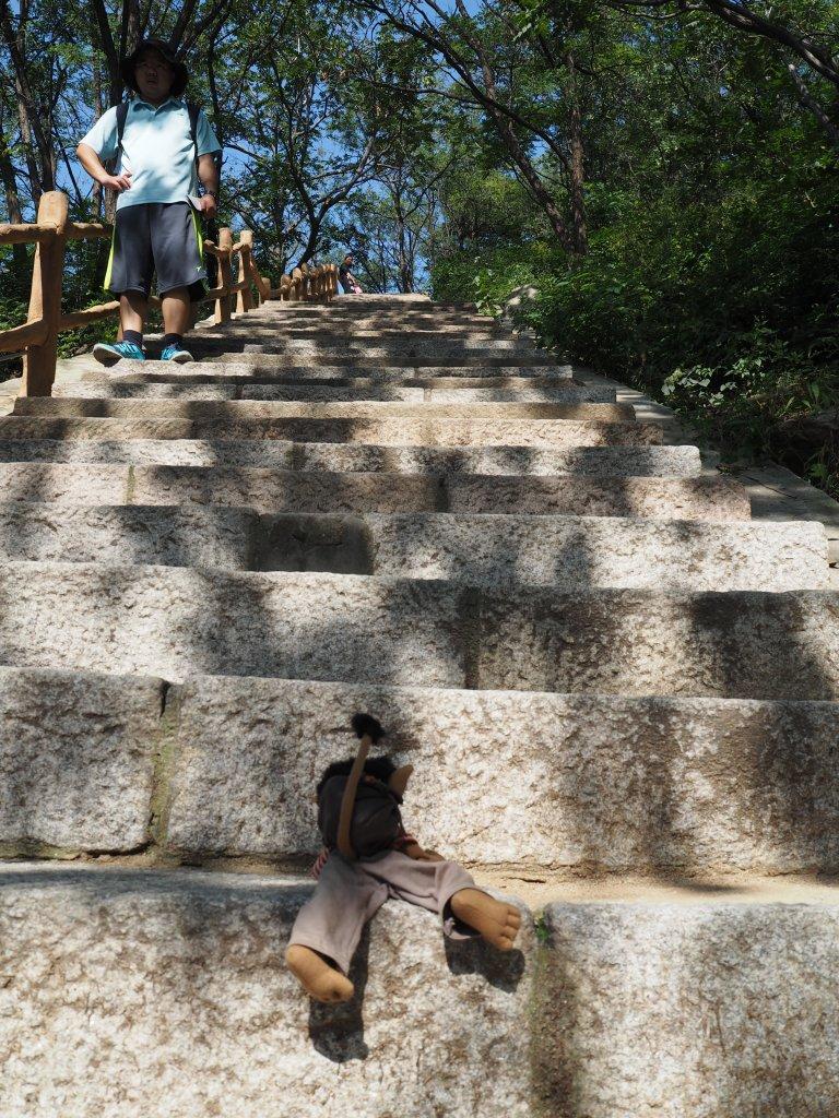 Zu der Mauer hoch mussten wir ganz schön viele Treppen hochklettern. Komische Logik haben diese Chinesen.